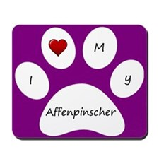 Purple I Love My Affenpinscher Mouse Pad