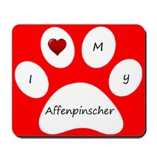 Red I Love My Affenpinscher Mouse Pad