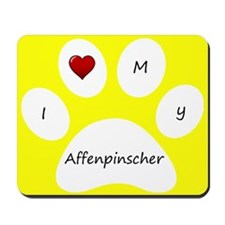 Yellow I Love My Affenpinscher Mouse Pad