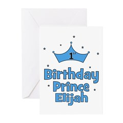 1st Birthday Prince ELIJAH! Greeting Cards (Pk of