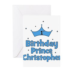 1st Birthday Prince CHRISTOPH Greeting Cards (Pk o