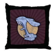 Blue Evil Bunny Throw Pillow