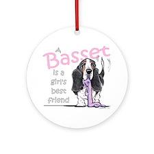 Basset Girls Friend Ornament (Round)