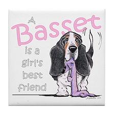 Basset Girls Friend Tile Coaster