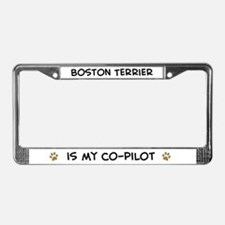 Co-pilot: Boston Terrier License Plate Frame