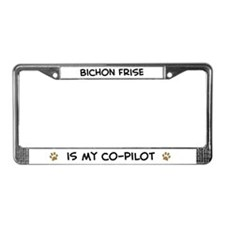 Co-pilot: Bichon Frise License Plate Frame