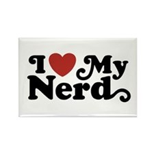 I Love My Nerd Rectangle Magnet