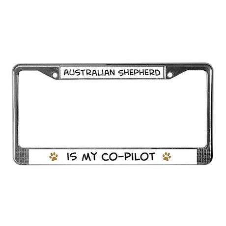 Co-pilot: Australian Shepherd License Plate Frame