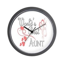 Best Aunt (Pink Hearts) Wall Clock