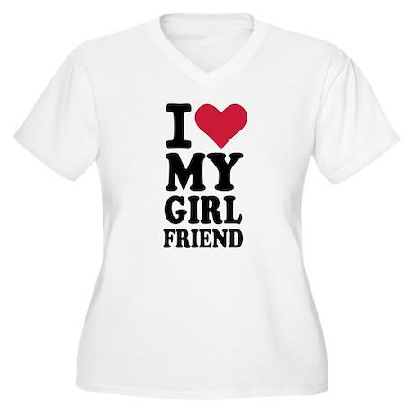 I love my girlfriend Women's Plus Size V-Neck T-Sh