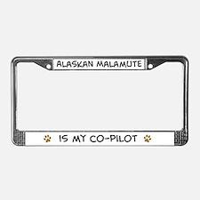Co-pilot: Alaskan Malamute License Plate Frame