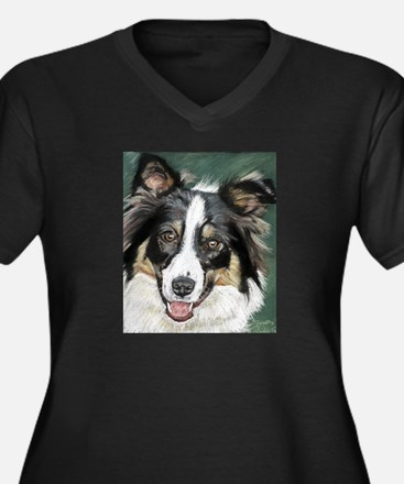 collie pup Women's Plus Size V-Neck Dark T-Shirt