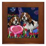 BEAGLE valentine Framed Tile