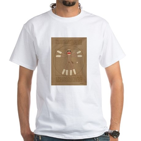 Vitruvian Sock Monkey White T-Shirt