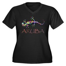Cute Tropical island Women's Plus Size V-Neck Dark T-Shirt