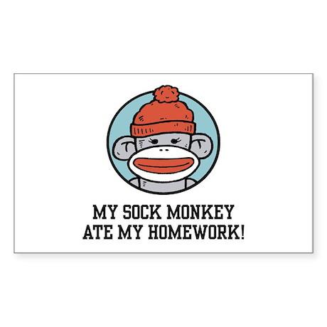 Funny Sock Monkey Sticker (Rectangle)