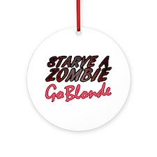 Starve a Zombie Ornament (Round)