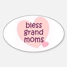 BLESS GRAND MOMS Oval Decal