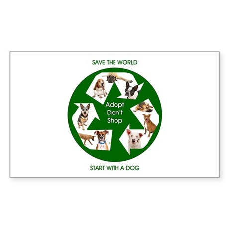 Recycle and Save A Dog Sticker (Rectangle)