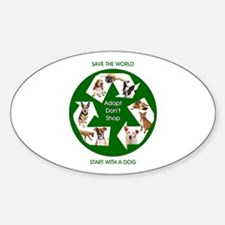 Recycle and Save A Dog Sticker (Oval)