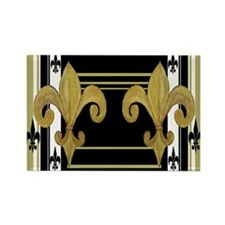 Gold and multi black fleur de Rectangle Magnet