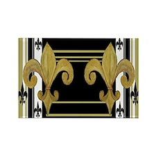 Gold and multi black fleur de Rectangle Magnet