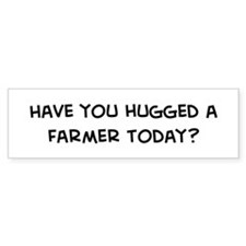Hugged a Farmer Bumper Car Sticker