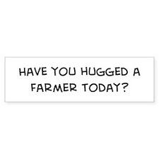 Hugged a Farmer Bumper Car Sticker