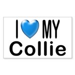 I Love My Collie Rectangle Sticker