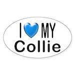 I Love My Collie Oval Sticker