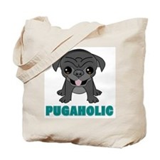 Pugaholic Cartoon Pug Tote Bag