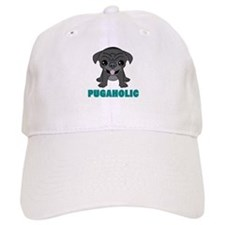 Pugaholic Cartoon Pug Baseball Cap