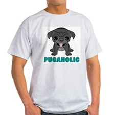 Pugaholic Cartoon Pug Ash Grey T-Shirt