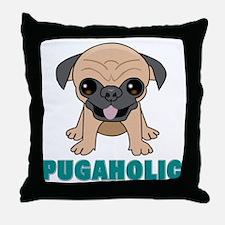 Pugaholic Cartoon Pug Throw Pillow