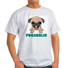 Pugaholic Cartoon Pug Ash Grey T-Shirt