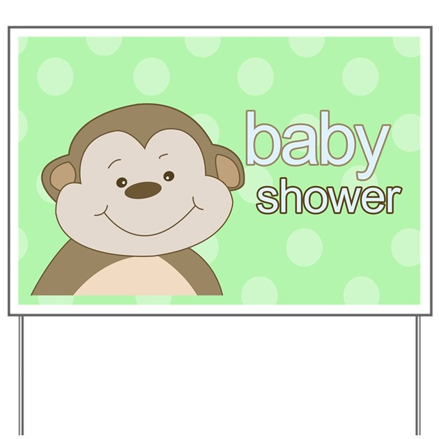 baby shower monkey yard sign green by artbyjessie