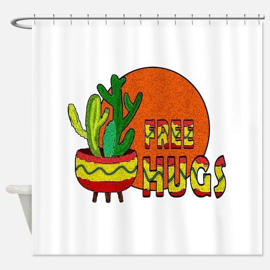 Cactus - free hugs Shower Curtain