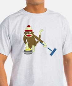 Sock Monkey Olympics Curling T-Shirt