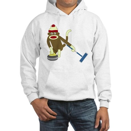Sock Monkey Olympics Curling Hooded Sweatshirt
