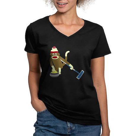Sock Monkey Curling Women's V-Neck Dark T-Shirt