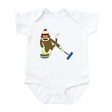 Sock Monkey Olympics Curling Infant Bodysuit