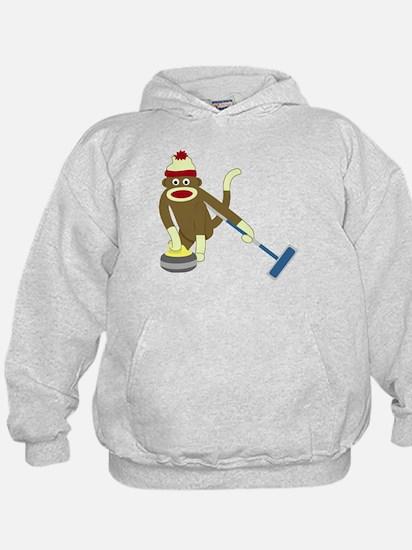 Sock Monkey Olympics Curling Hoodie