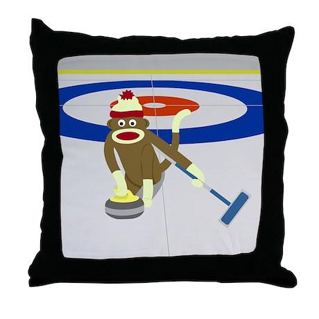 Sock Monkey Olympics Curling Throw Pillow