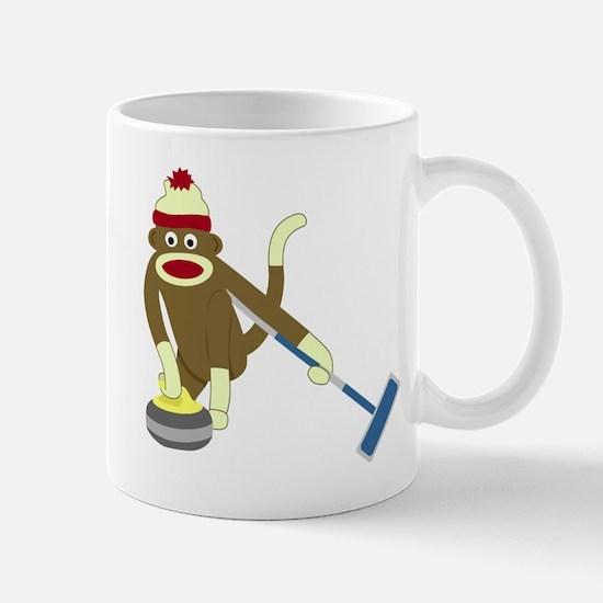 Sock Monkey Olympics Curling Coffee Mug