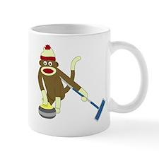Sock Monkey Olympics Curling Coffee Small Mug
