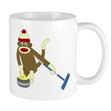 Sock Monkey Olympics Curling Coffee Small Mug