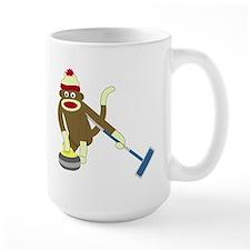 Sock Monkey Olympics Curling Large Coffee Mug