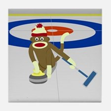 Sock Monkey Olympics Curling Tile Coaster