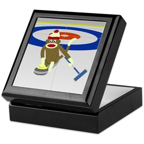 Sock Monkey Olympics Curling Keepsake Box