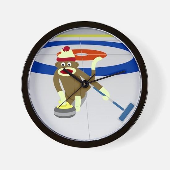 Sock Monkey Olympics Curling Wall Clock